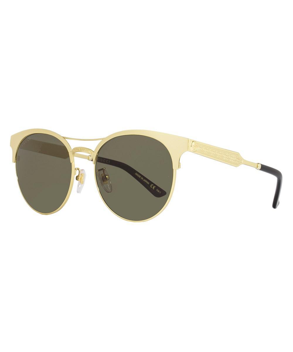 b7b763914ab Lyst - Gucci Oval Sunglasses Gg0075s 003 Gold 0075 in Metallic