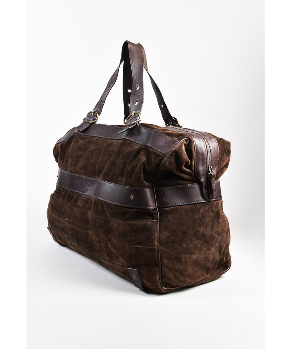 3e391e14f9 Lyst - Roberto Cavalli 1 Men s Brown Suede Leather Travel Duffel Bag ...