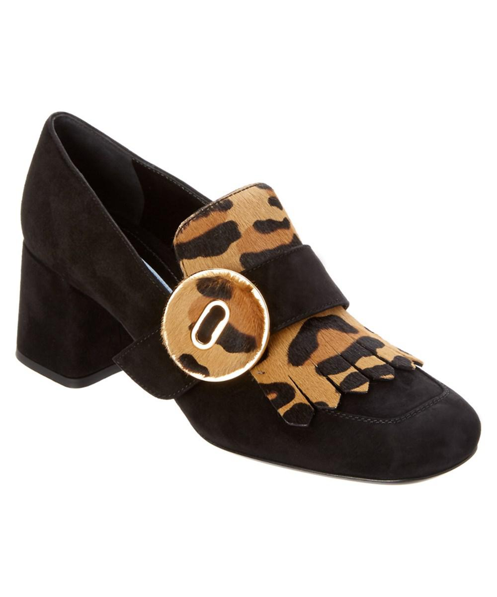 d559f00f1e7 Lyst - Prada Leopard Haircalf   Fringe Suede Heeled Loafer