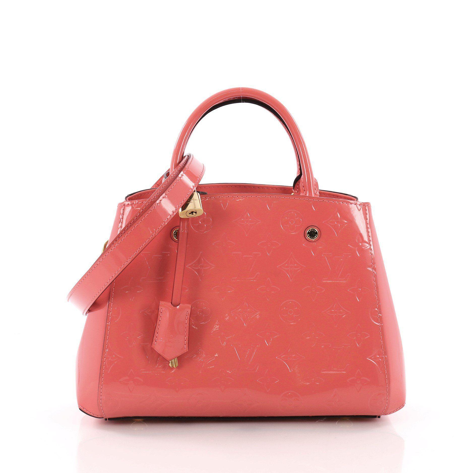 8f6b4006578 Louis Vuitton. Women s Red Pre Owned Montaigne Handbag Monogram Vernis Bb