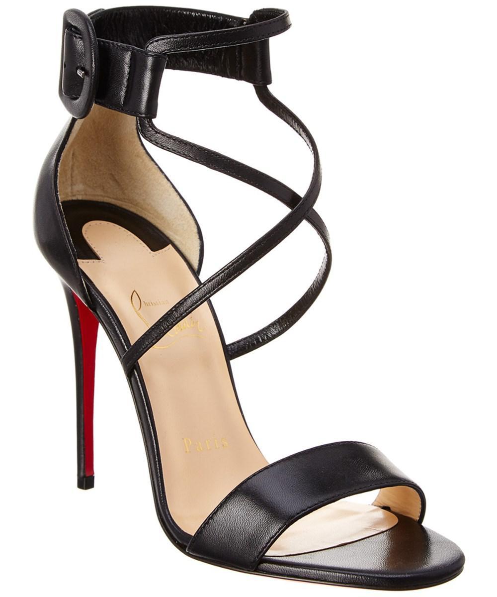 337052f7b92 Lyst - Christian Louboutin Choca 100 Leather Sandal in Black