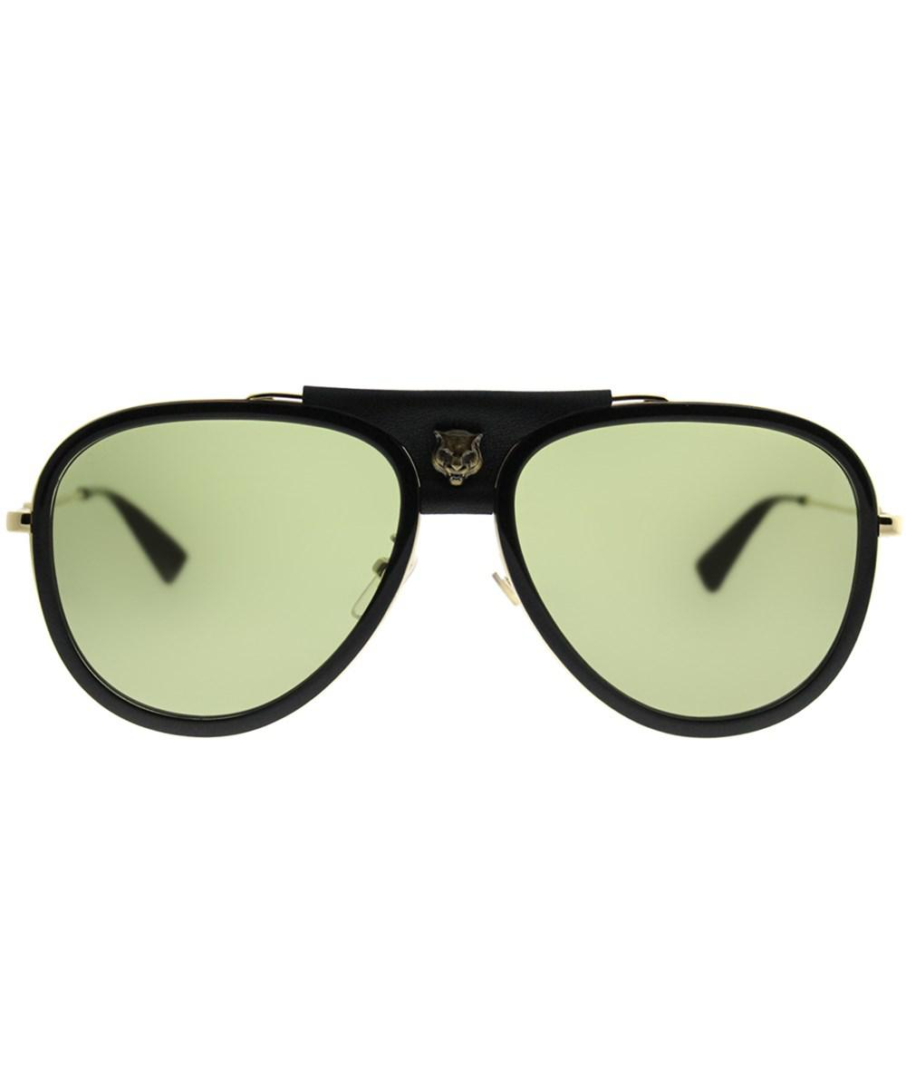 44ed4af479 Gucci Gg0062s 014 Black Gold Aviator Sunglasses in Black - Lyst