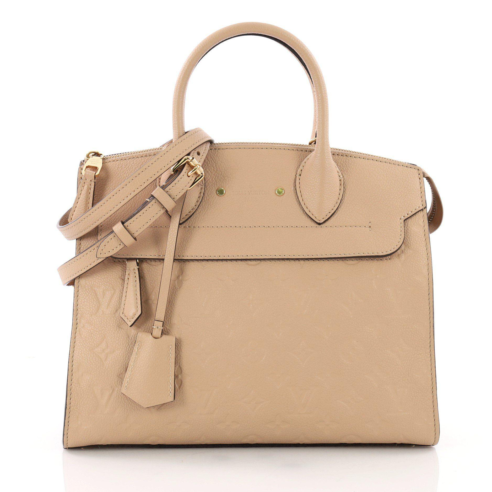 4eabd046e5f Louis Vuitton. Women s Natural Pont Neuf Handbag Monogram Empreinte Leather  Mm