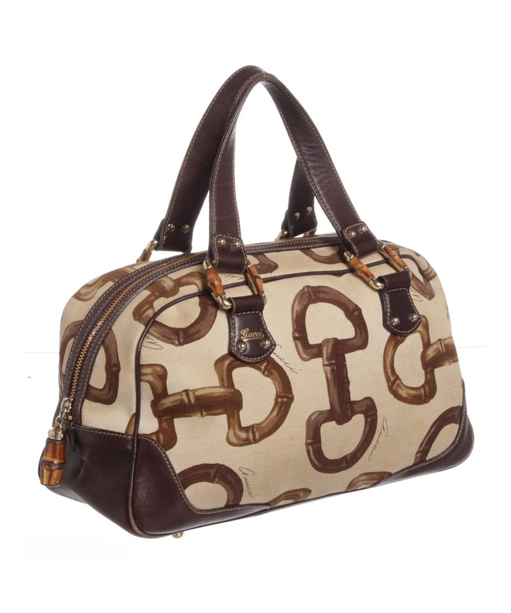 69599d54f5cb96 Gucci - Brown Canvas Leather Bamboo Horsebit Boston Bag - Lyst. View  fullscreen