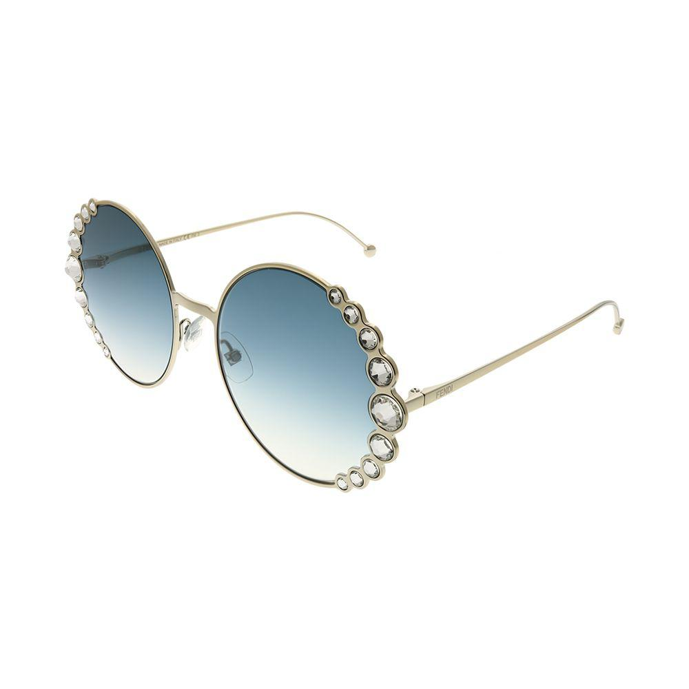 Fendi. Women s Ribbons And Crystals Ff 0324 3yg 08 Lgh Gold Round Sunglasses e2afc7831b