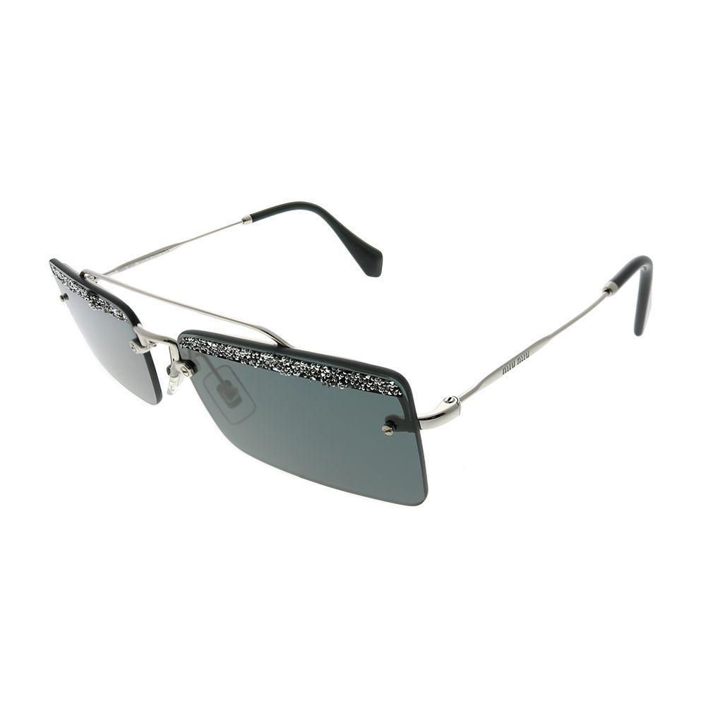 c5cff76e3d Lyst - Miu Miu Mu 59ts Kjl1a1 Silver Rectangle Sunglasses in Metallic
