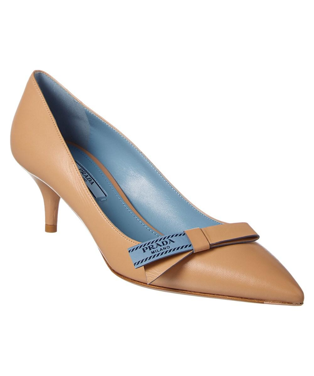 3b31af89da3f Lyst - Prada 55 Etiquette Bow Leather Pump in Natural