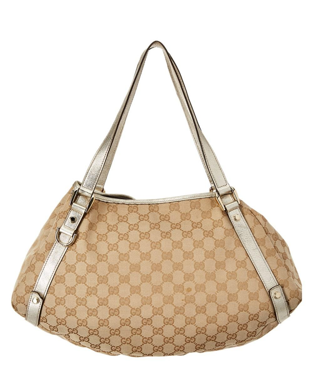 e3b2afa8768e Lyst - Gucci White Leather & Beige Gg Supreme Canvas Pelham Hobo in ...