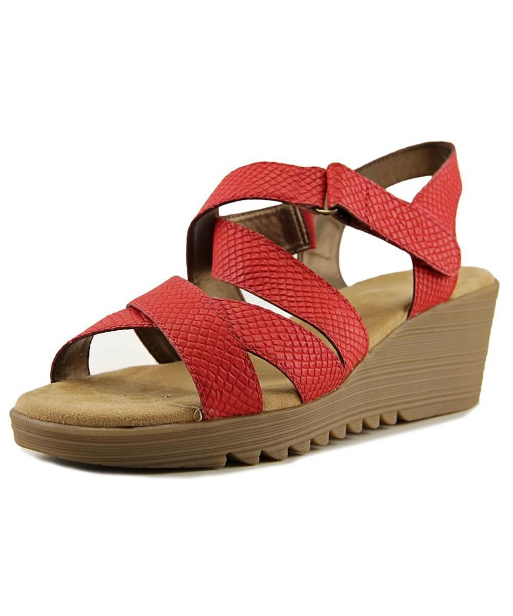 bbafaec76bd Lyst - Aerosoles Bogota Women Open Toe Synthetic Red Wedge Sandal in Red