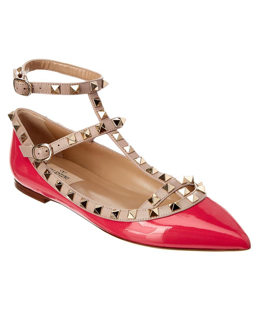 Ann Demeulemeester Pink Valentino Garavani Patent Rockstud Ballerina Flats 2NZyK