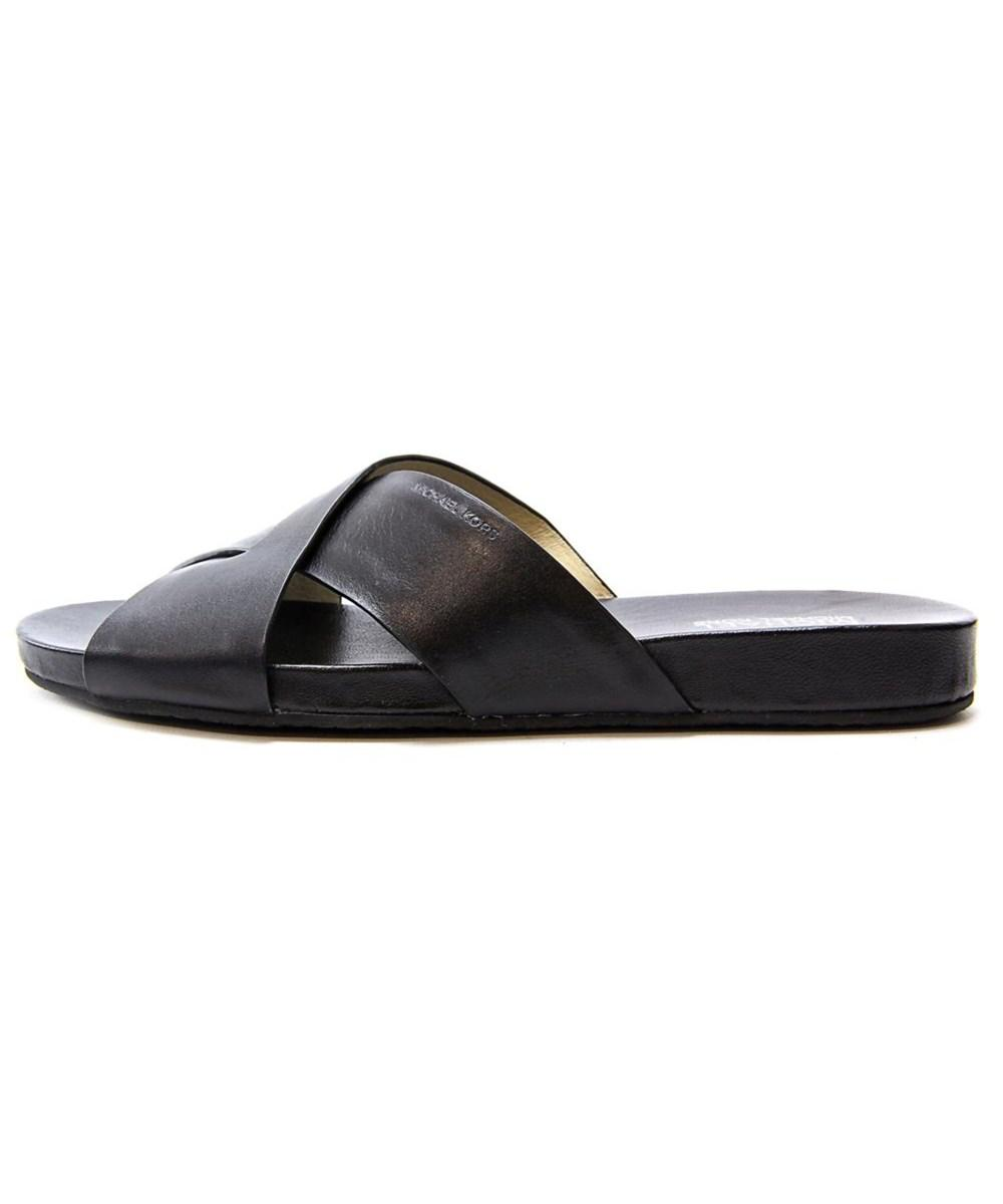 ba0f2e00f0db ... Michael Michael Kors Somerly Slide Open Toe Leather Slides S