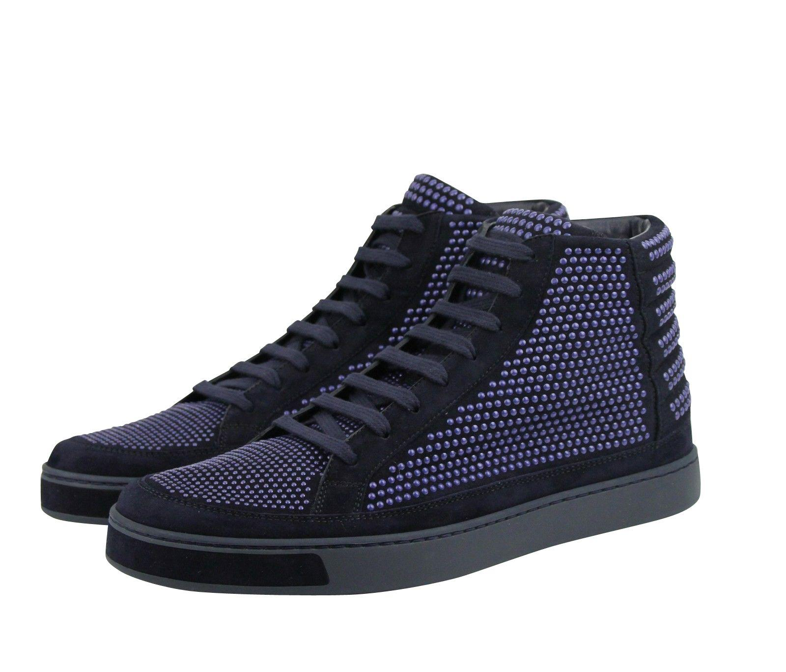 095bf64b24b4 Lyst - Gucci Studs Lace Up Dark Blue Suede Leather Hi Top Sneaker ...