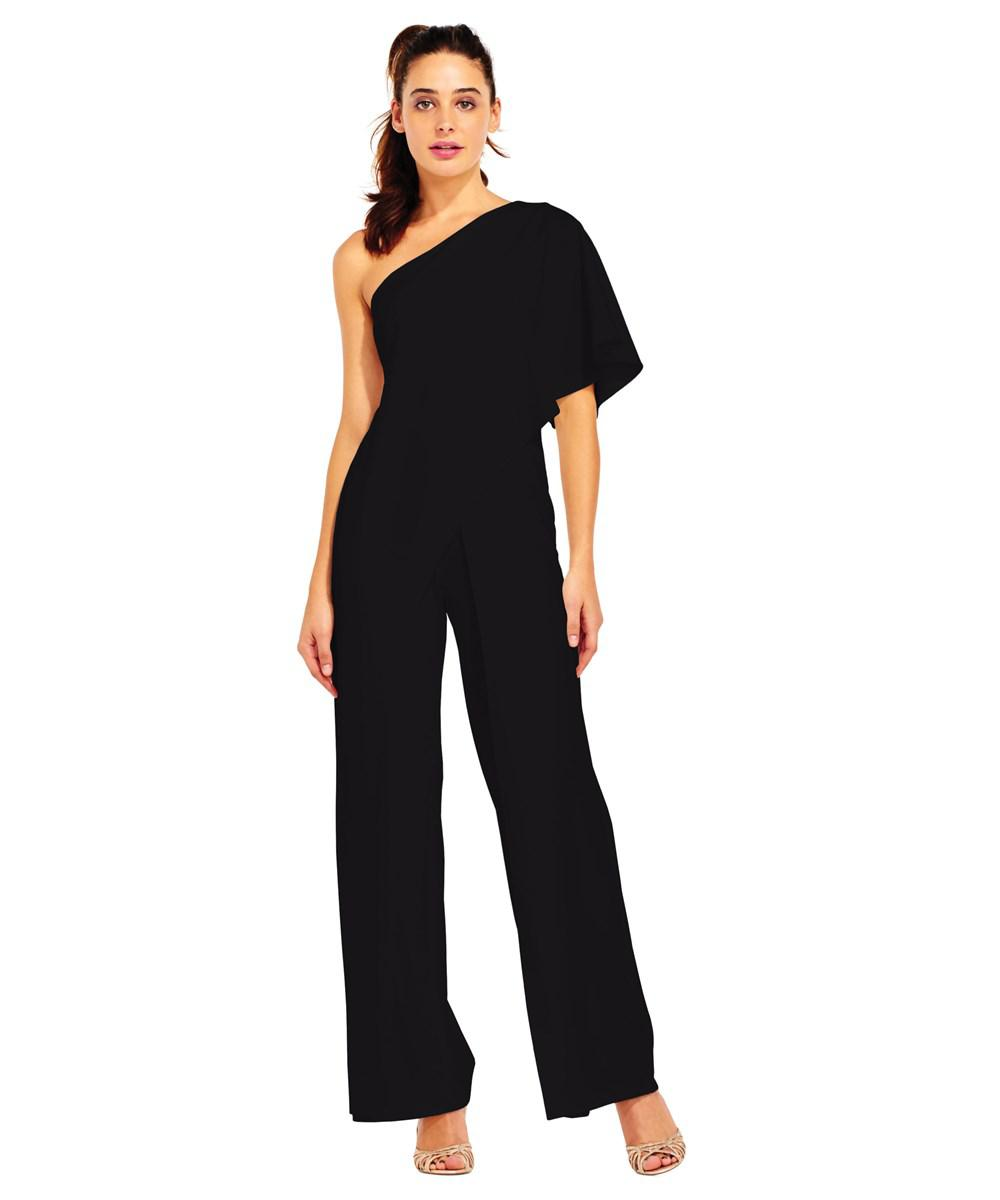 6dc4706d40e Lyst - Adrianna Papell Flutter One Shoulder Jumpsuit in Black