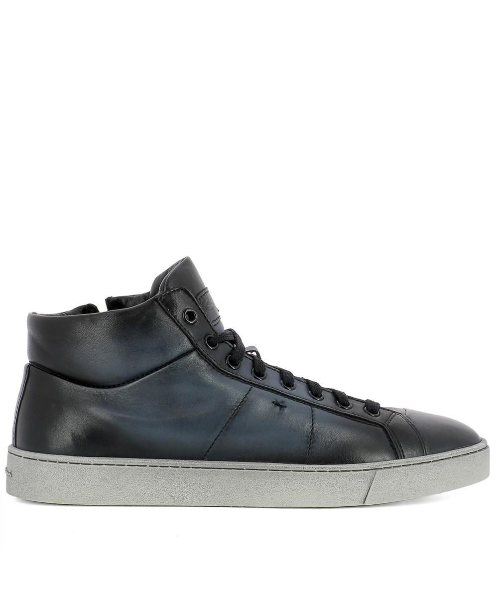 a5b27b990742c Santoni Men s Blue Leather Hi Top Sneakers in Blue for Men - Lyst