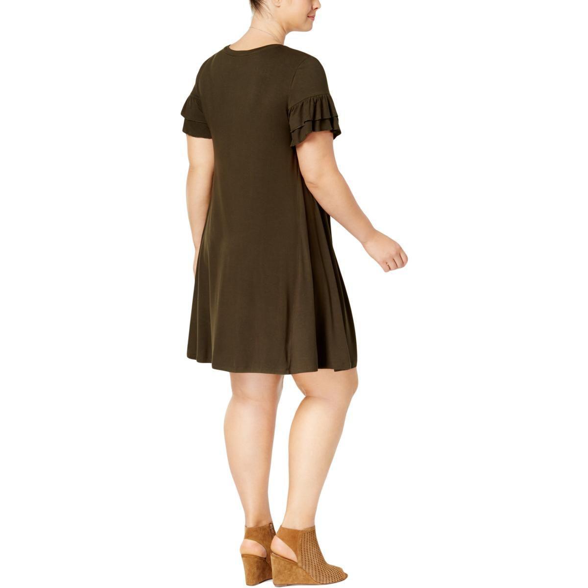 Lyst Style Co Womens Plus Ruffle Sleeve Knee Length T Shirt