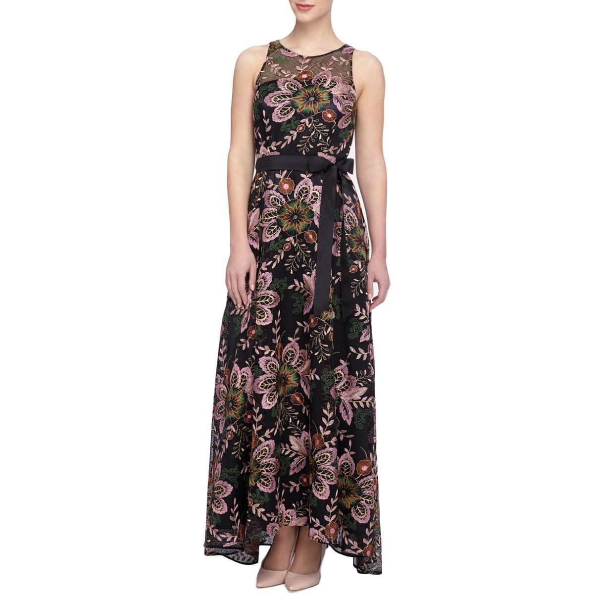 282f332466d5 Tahari. Black Tahari Asl Womens Floral Embroidered Lace Overlay Evening  Dress
