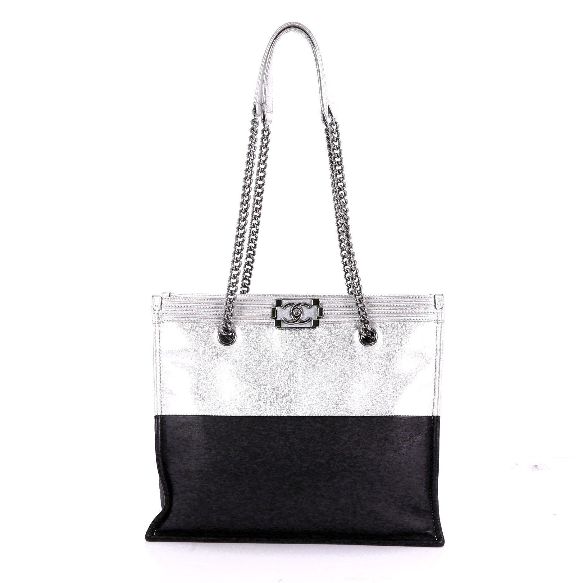 382153263603 Lyst - Chanel Pre Owned Boy Shopper Calfskin Large in White
