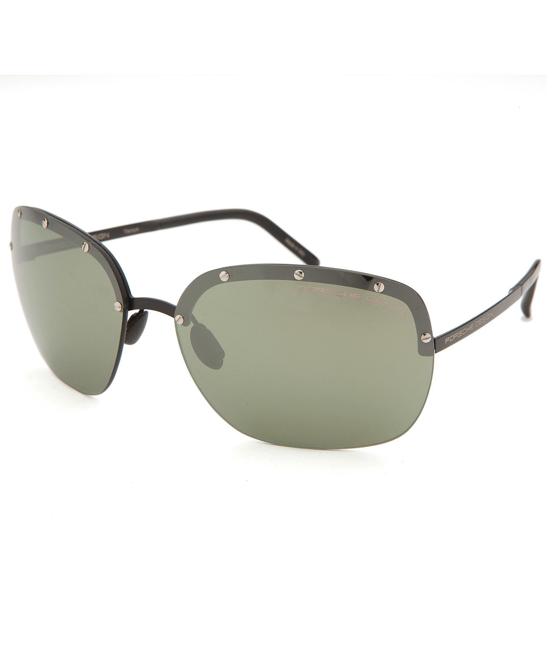 Porsche Design Women S Semi Rimless Black Sunglasses In