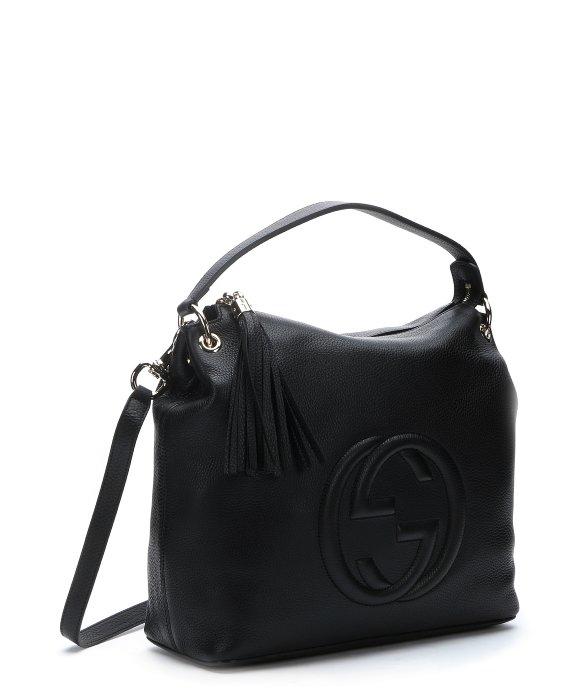 Gucci Black Leather 'soho' Logo Tubed Convertible Hobo Bag ...