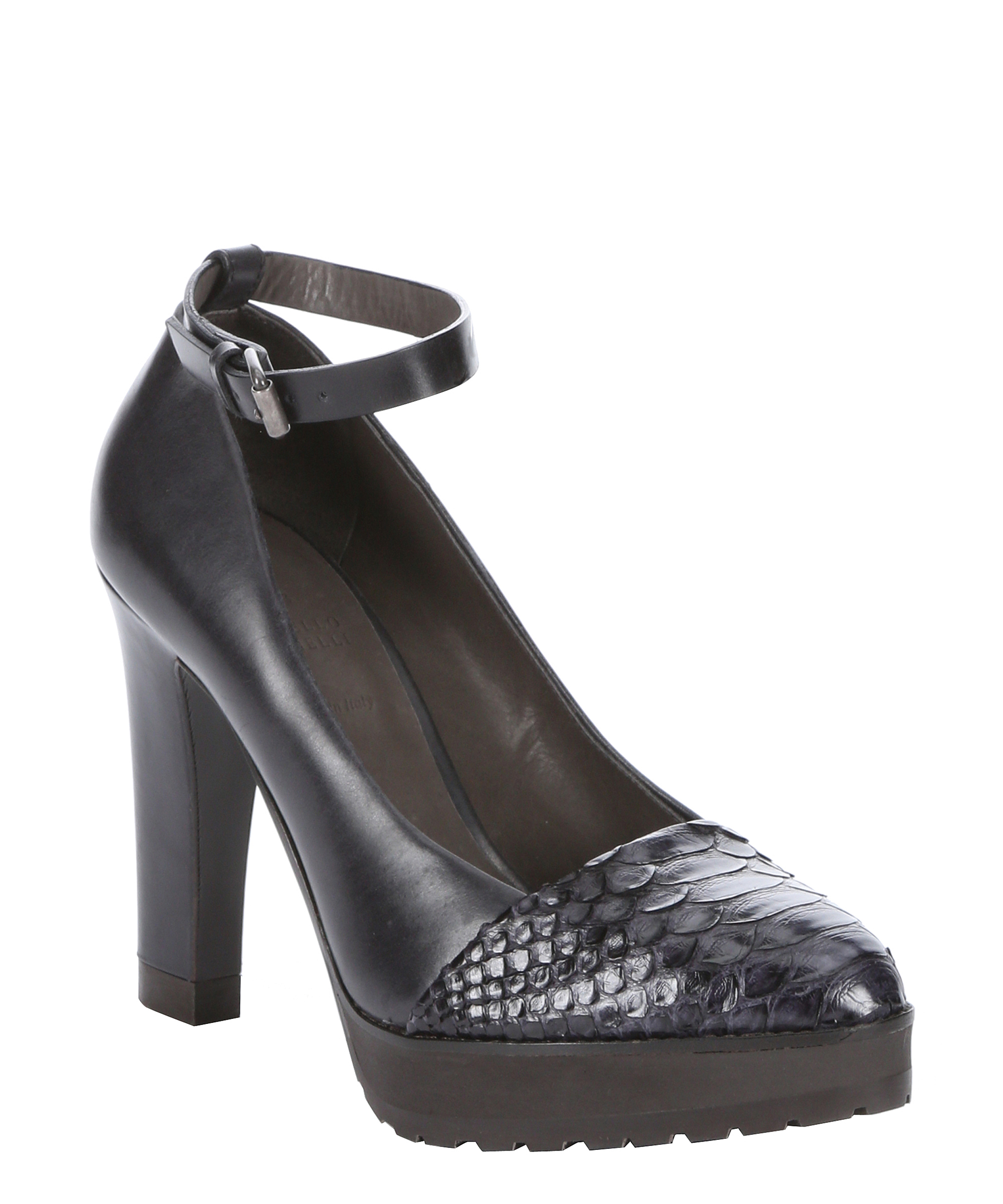 Brunello Cucinelli Black Python And Leather Ankle Strap