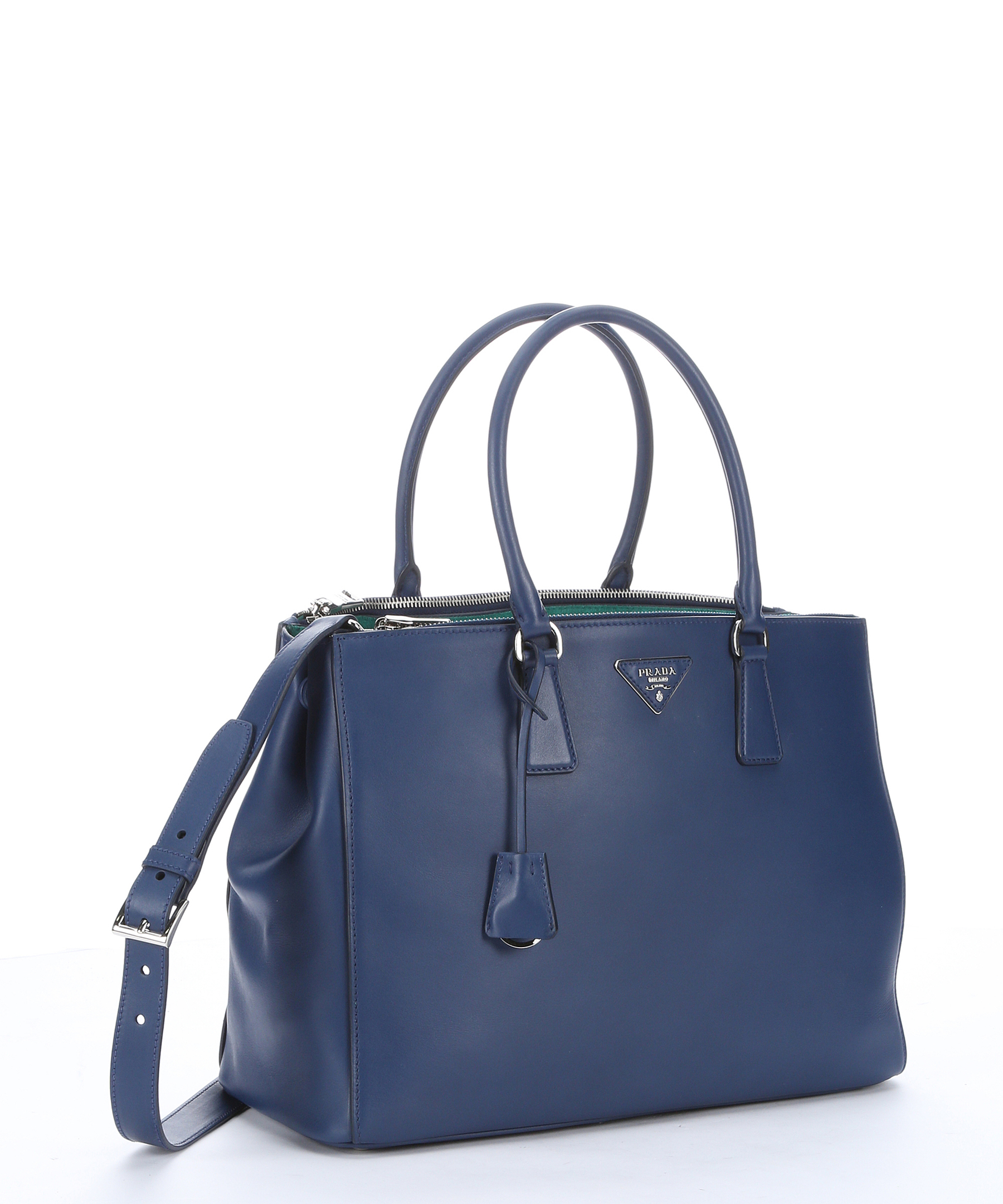 9f2c95421da4 ... leather tote cornflower blueprada bags outlet 4b4ad 24230 good lyst prada  cornflower blue and absinthe calfskin city 44266 938a5 ...