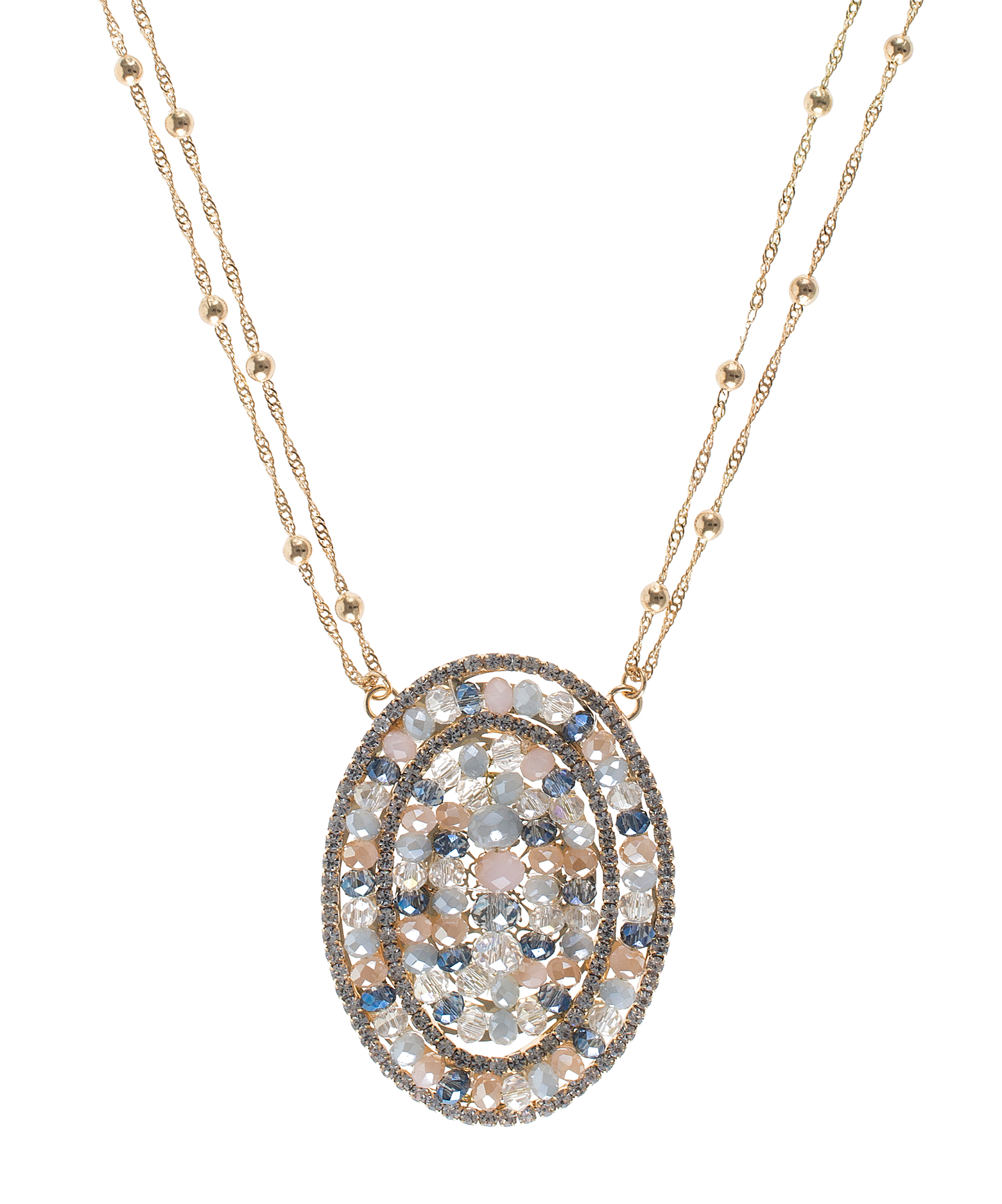 Jardin round crystal pave pendant in metallic lyst for Jardin jewelry