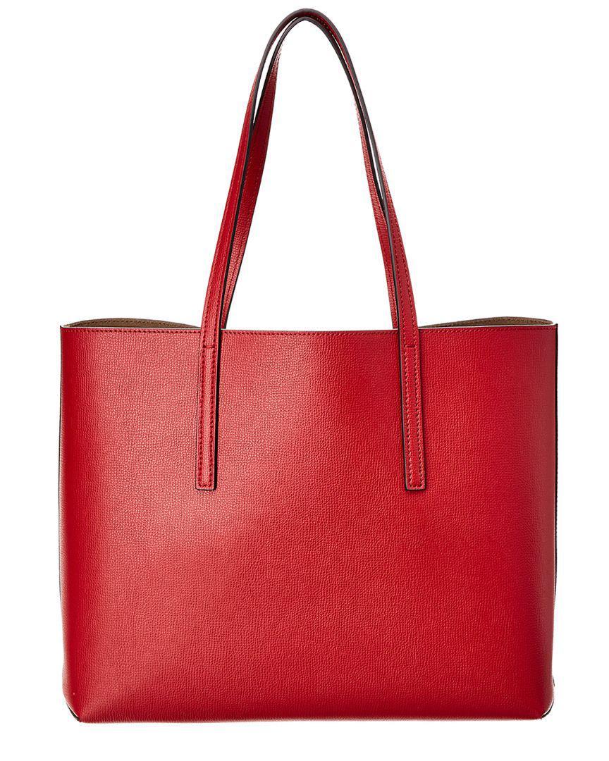 bec2a1b306 Lyst - Fendi F Logo Leather Shopper Tote in Red