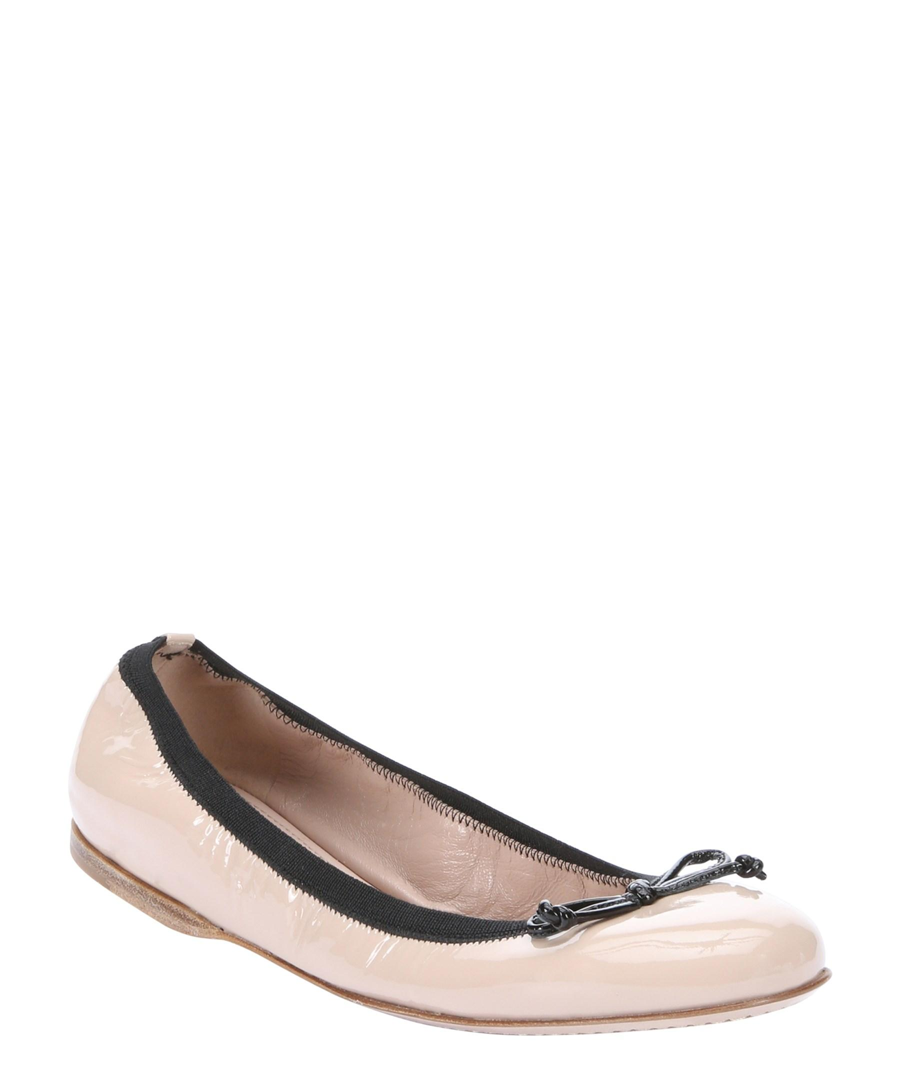 miu miu powder pink patent leather bow ballerina flats in natural lyst. Black Bedroom Furniture Sets. Home Design Ideas