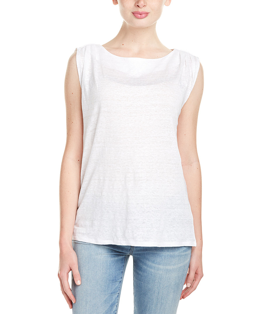 Michael stars pleated linen tank top in white save 50 for Michael stars t shirts on sale