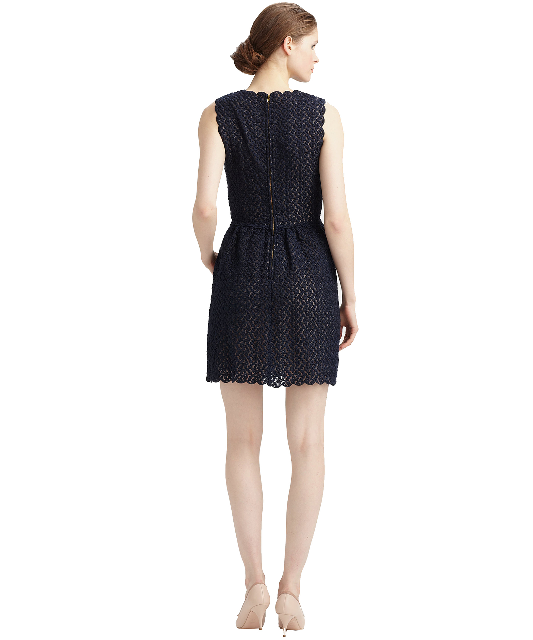 valentino organza ruffle front dress in blue navy lyst