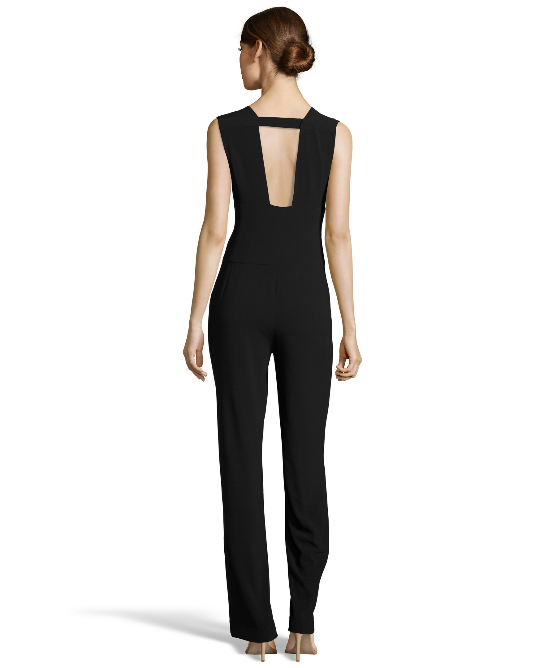 Beautiful Halston Crepe Jumpsuit In Blue  Lyst