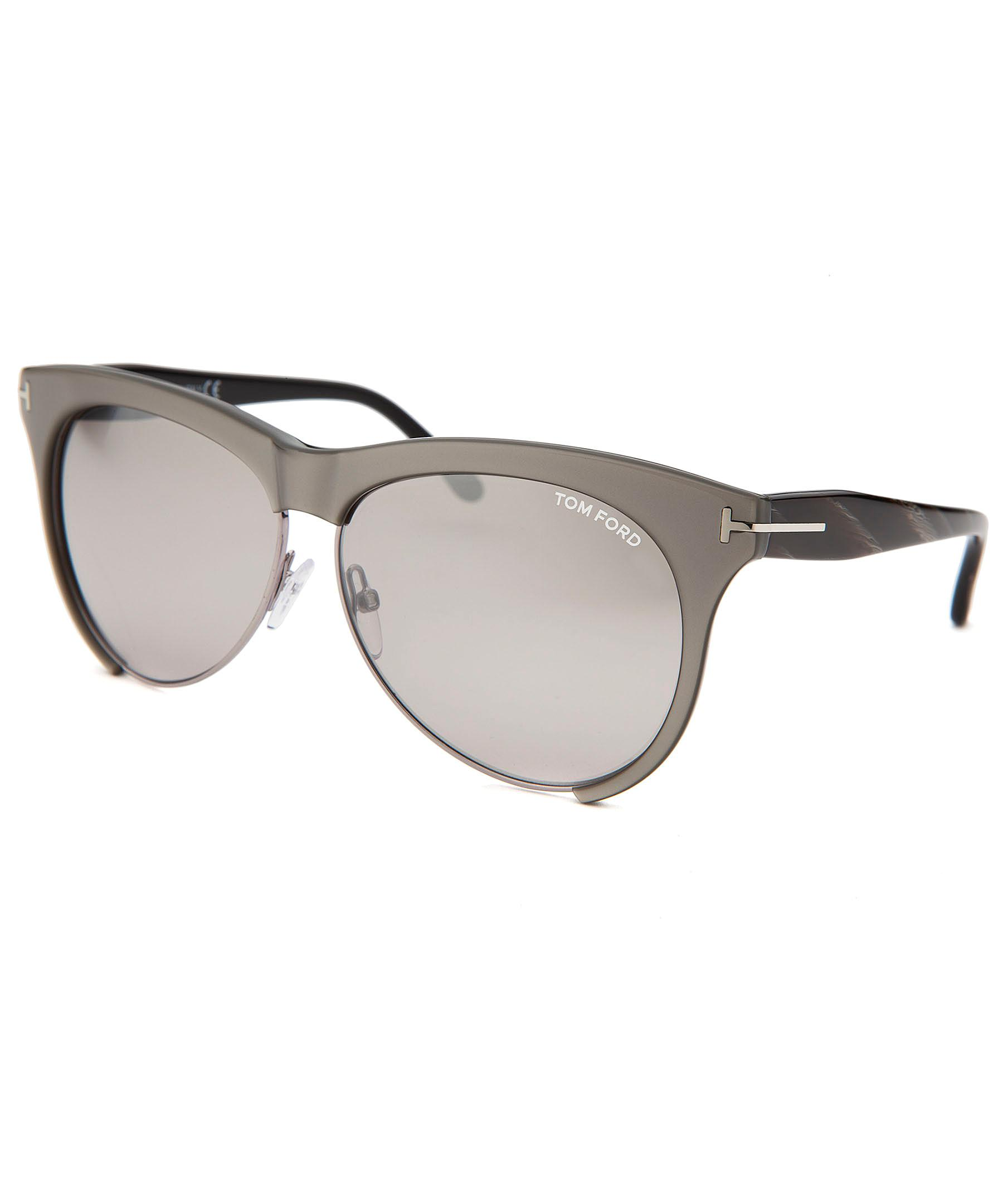 257e6f8e5892 Lyst - Tom Ford Women s Leona Round Grey And Silver-tone Sunglasses ...