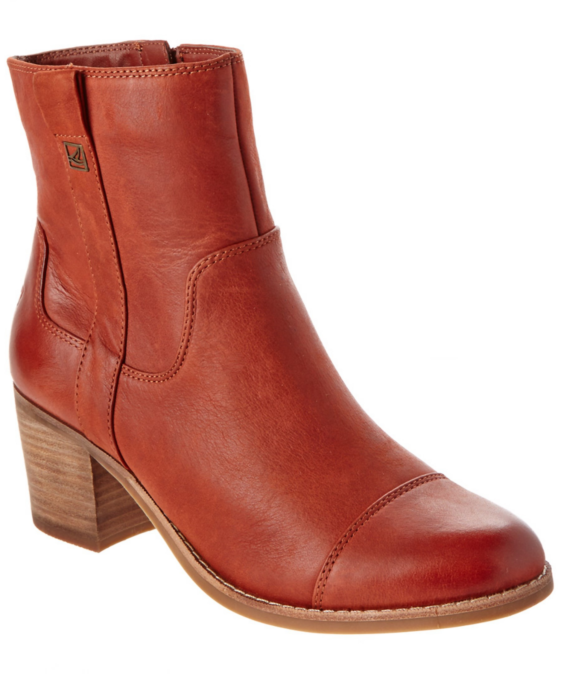 sperry top sider helena leather ankle boot in brown lyst