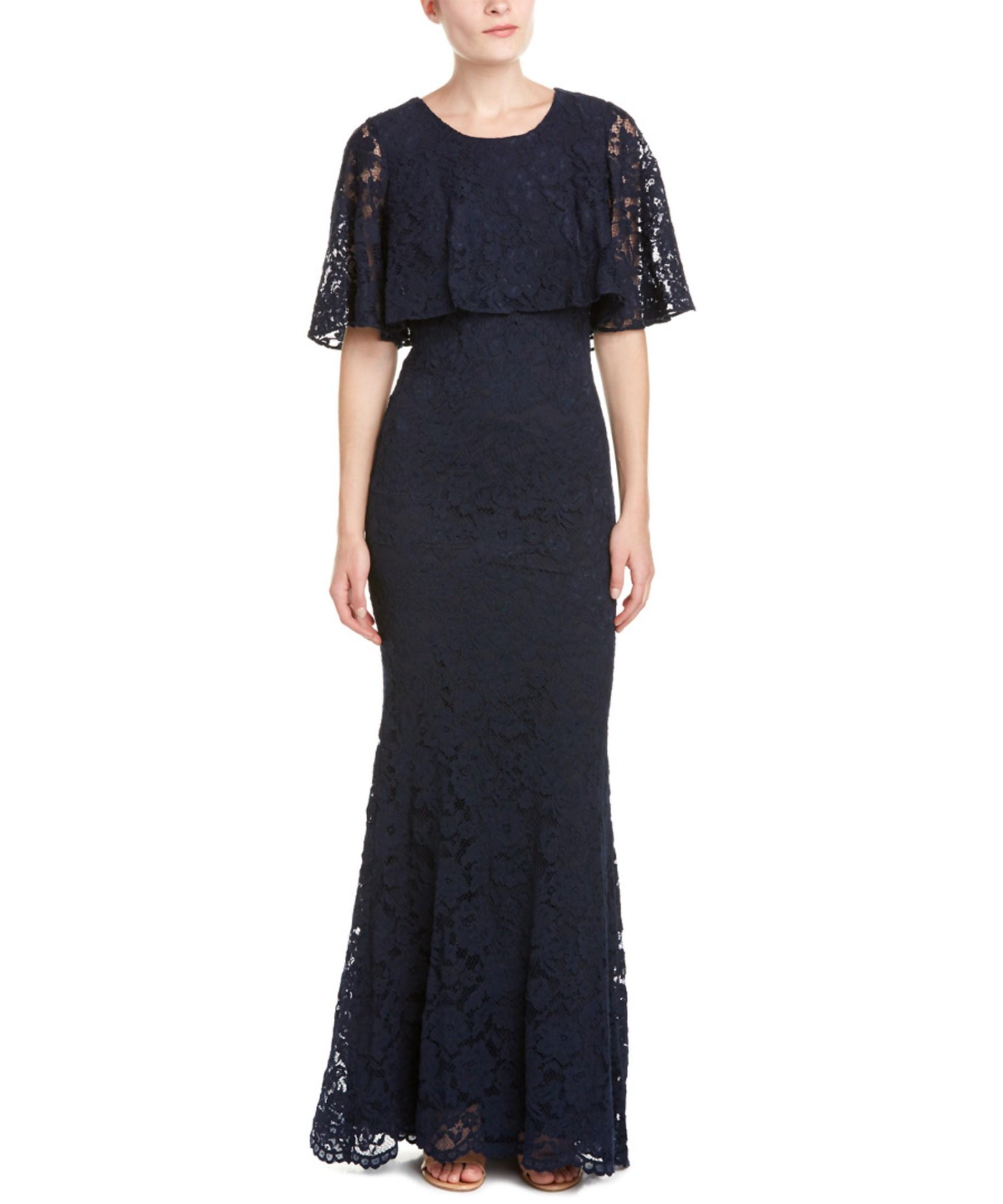 Badgley mischka lace ruffle popover evening gown in blue for Badgley mischka store nyc
