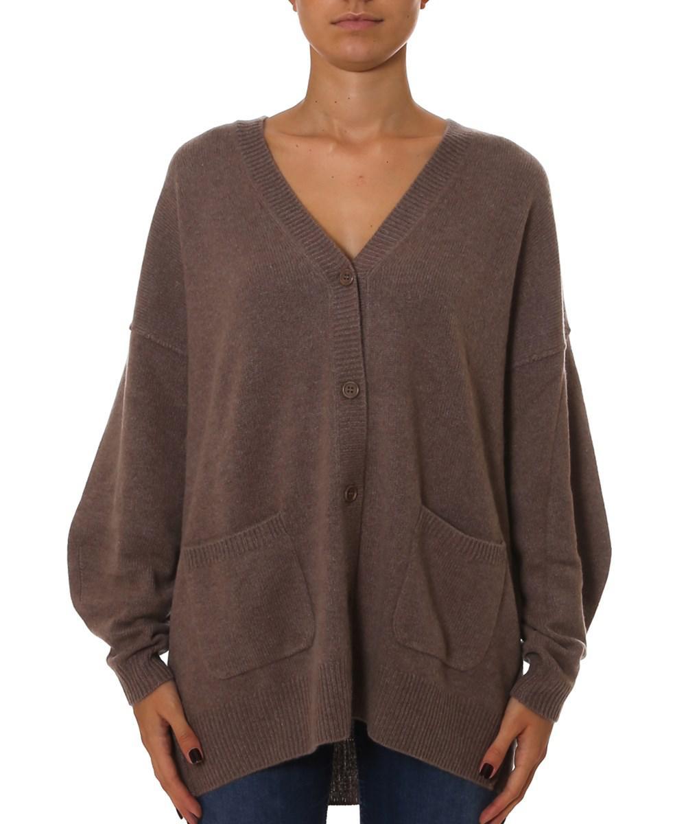 Pinko Women's Brown Wool Cardigan in Brown | Lyst