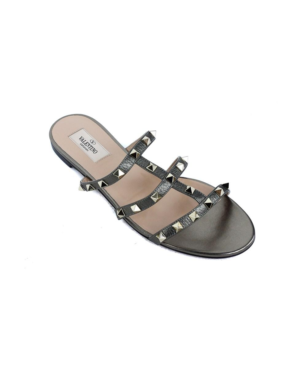2aa1a3e1a109 Valentino - Army Green Metallic Rockstud Slide Flat Sandals - Lyst. View  fullscreen