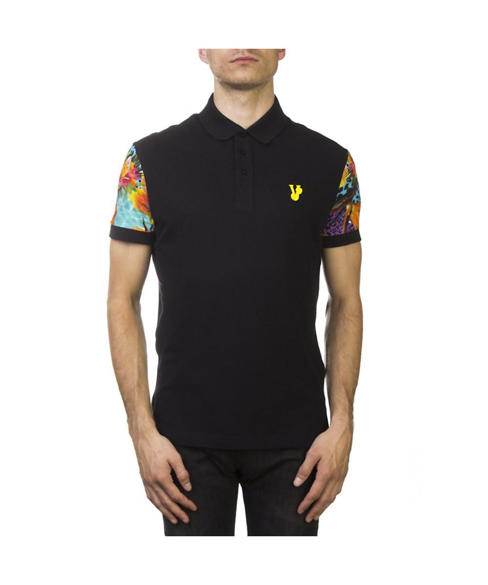 9d823421 Versace. Men's Jeans Couture Pima Cotton Floral Sleeve Polo Shirt Black