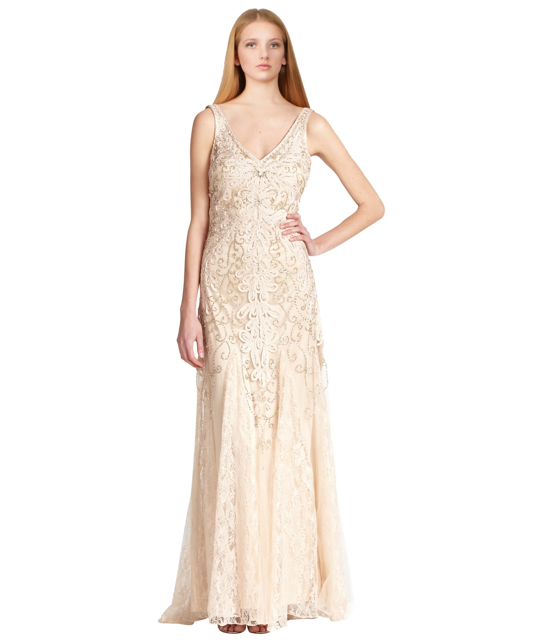 Sue Wong Beige Embroidered V-neck Lace Chiffon Evening