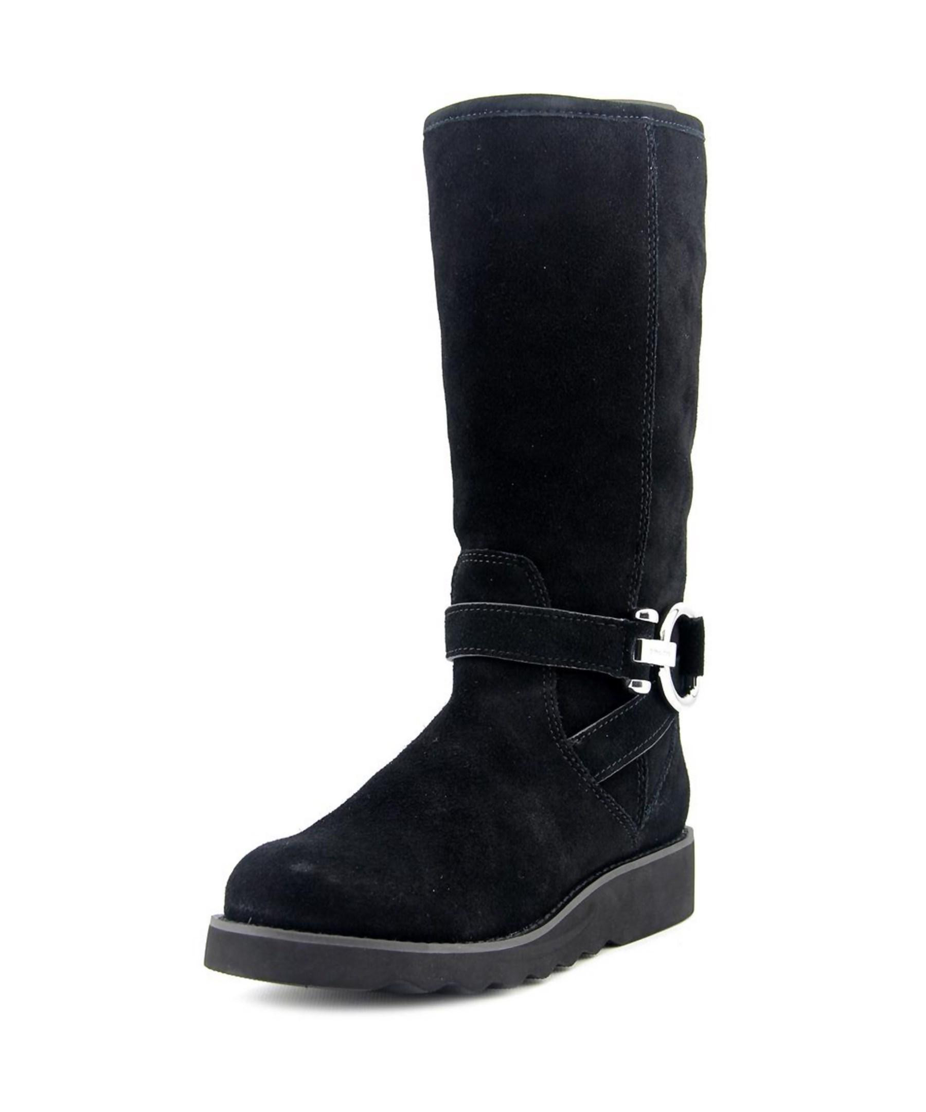 coach virtue toe suede black winter boot in
