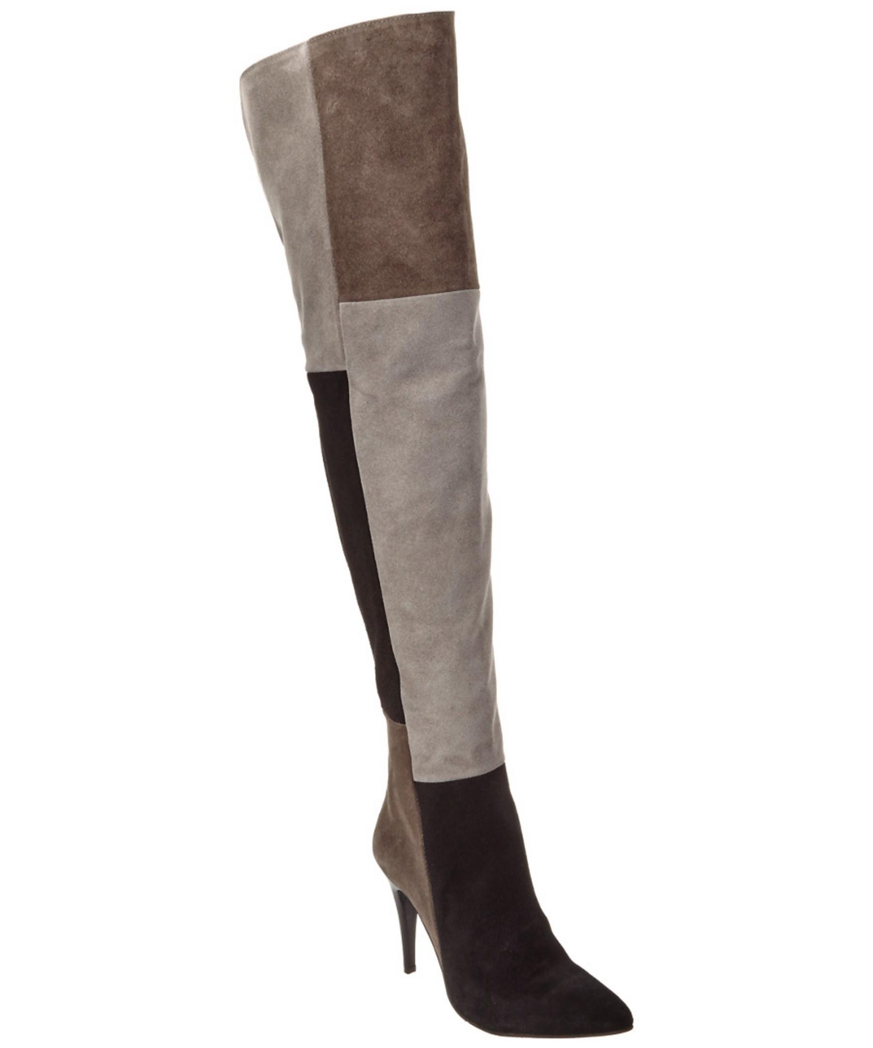 charles david kris suede the knee boot in gray lyst