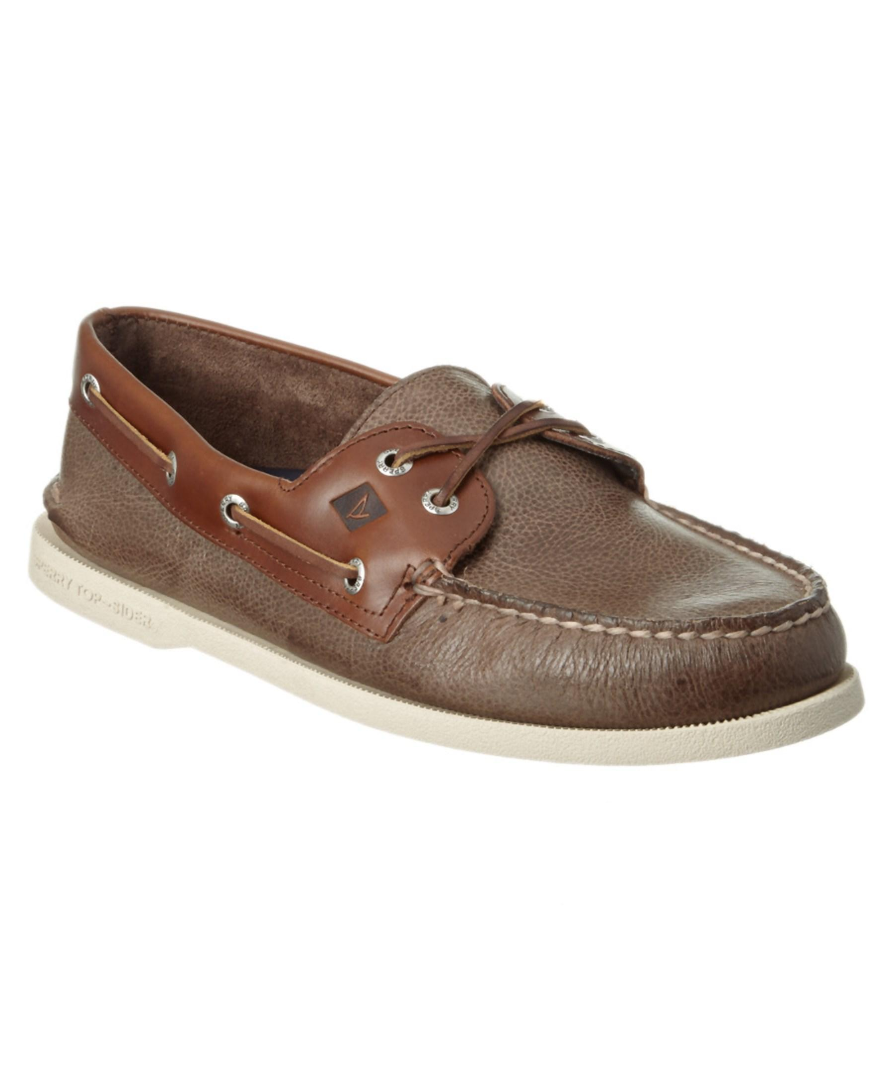 sperry top sider a o 2 eye cross lace leather boat shoe in