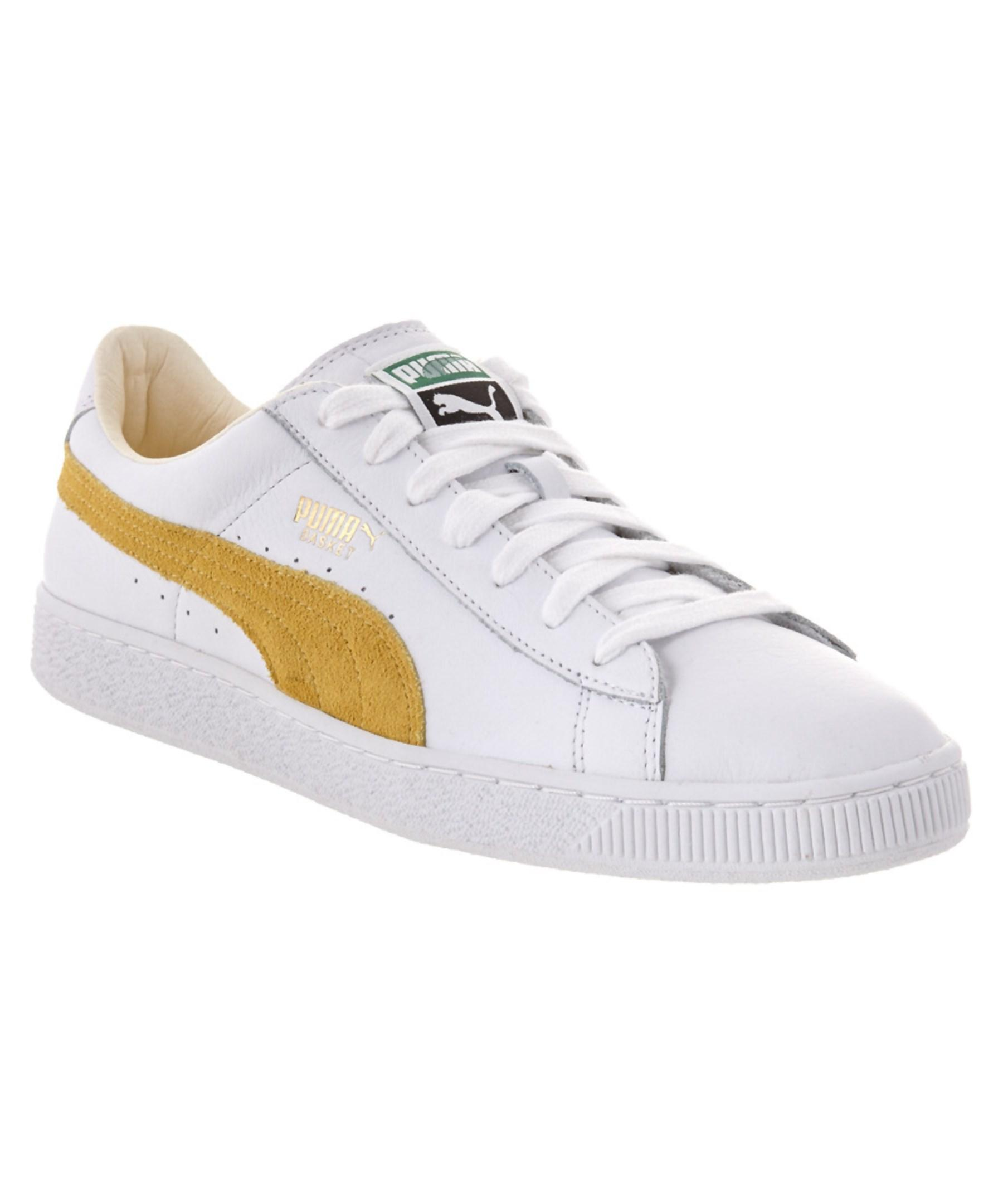 puma men 39 s basket classic leather sneaker in white for men lyst. Black Bedroom Furniture Sets. Home Design Ideas