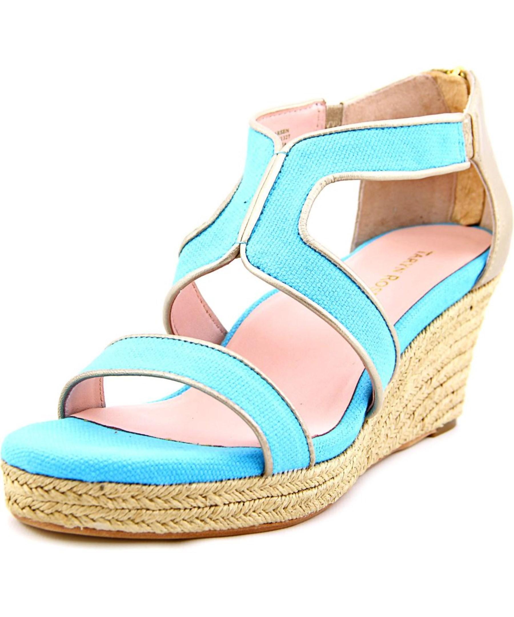 karsen open toe canvas blue wedge heel in