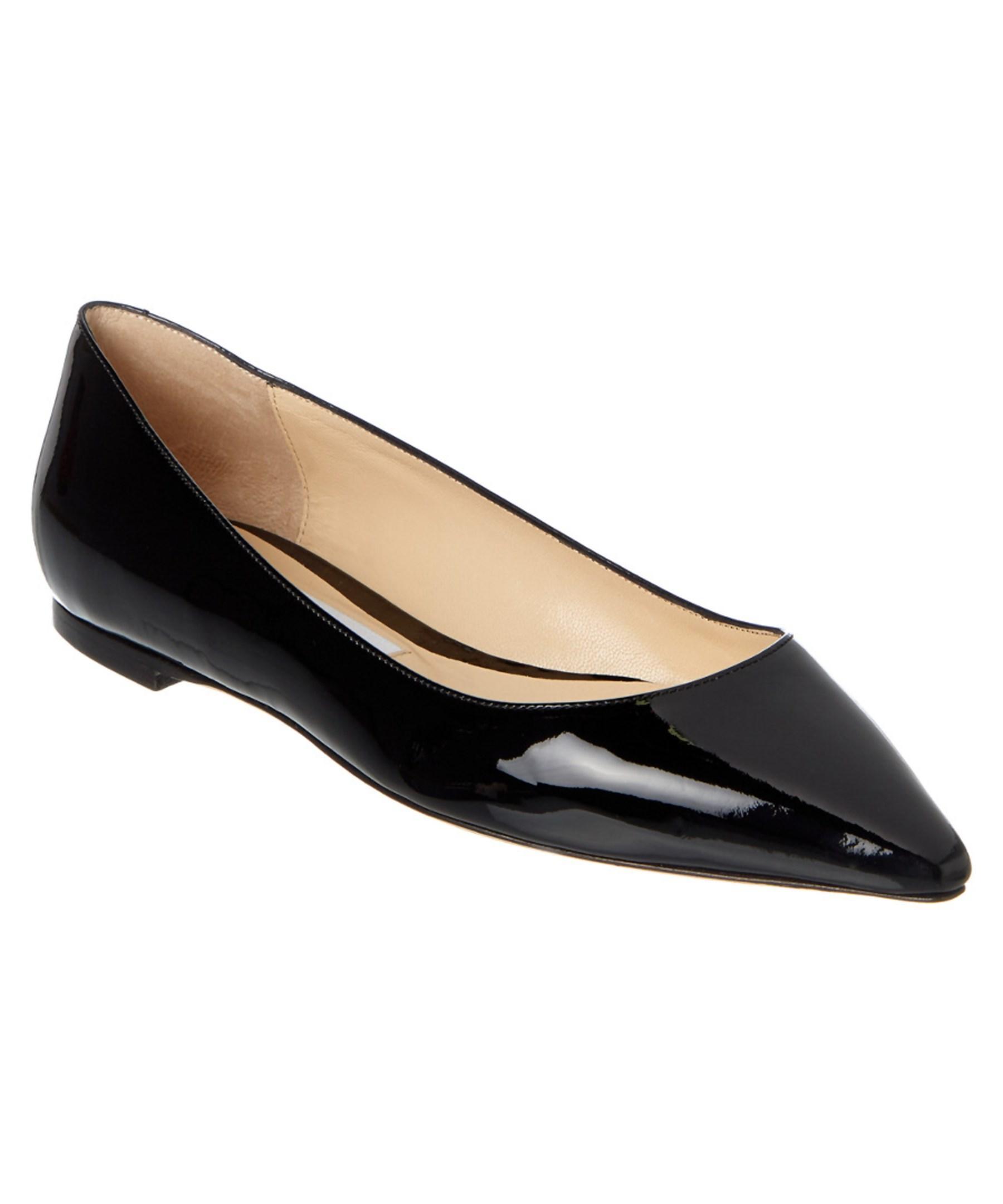 Jimmy choo Romy Patent Pointy Toe Flat in Black