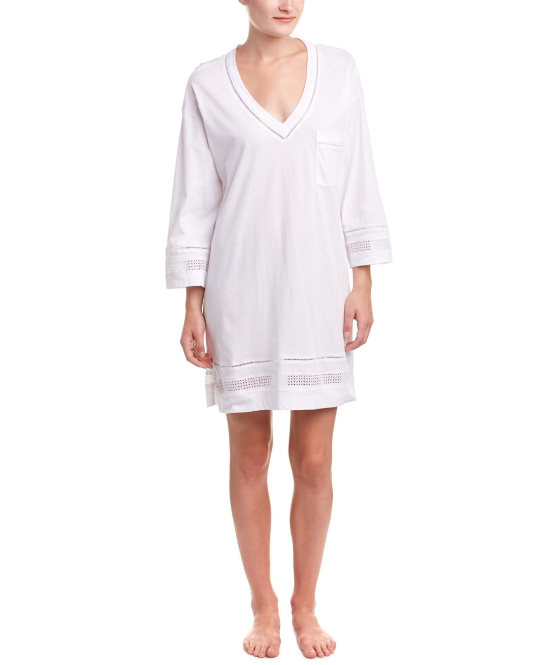 oscar de la renta signature sleep shirt in white lyst