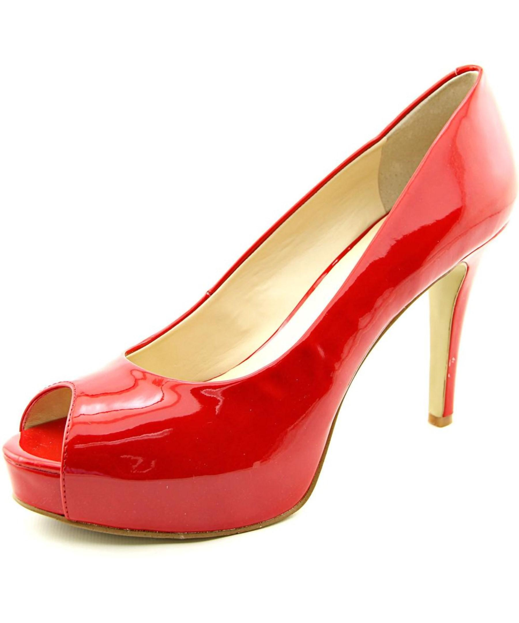 ed9bc5593 Lyst - Nine West Camya Open Toe Synthetic Platform Heel in Red