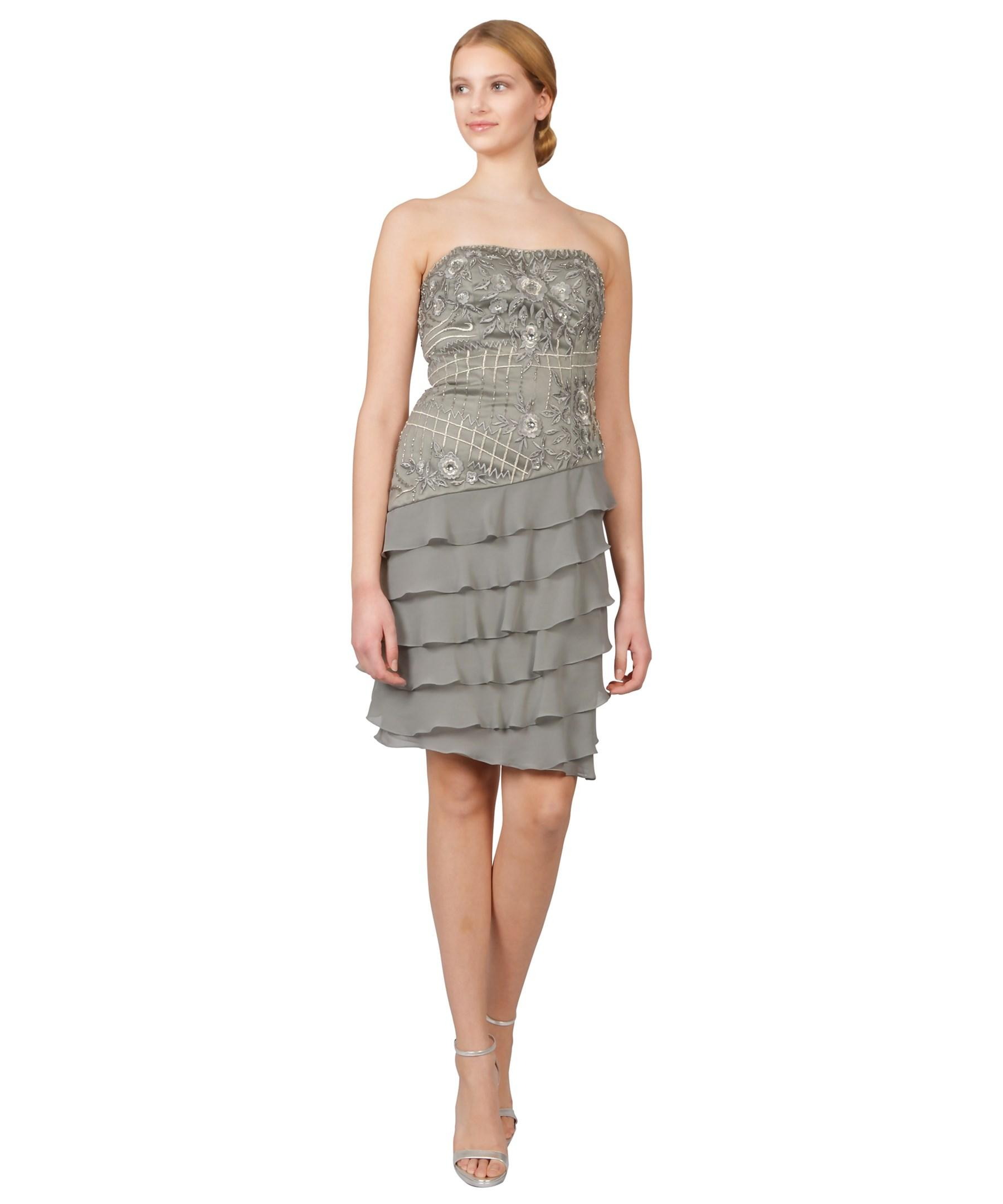 Sue wong Beaded Strapless Asymmetric Tiered Ruffle Dress in Gray ...