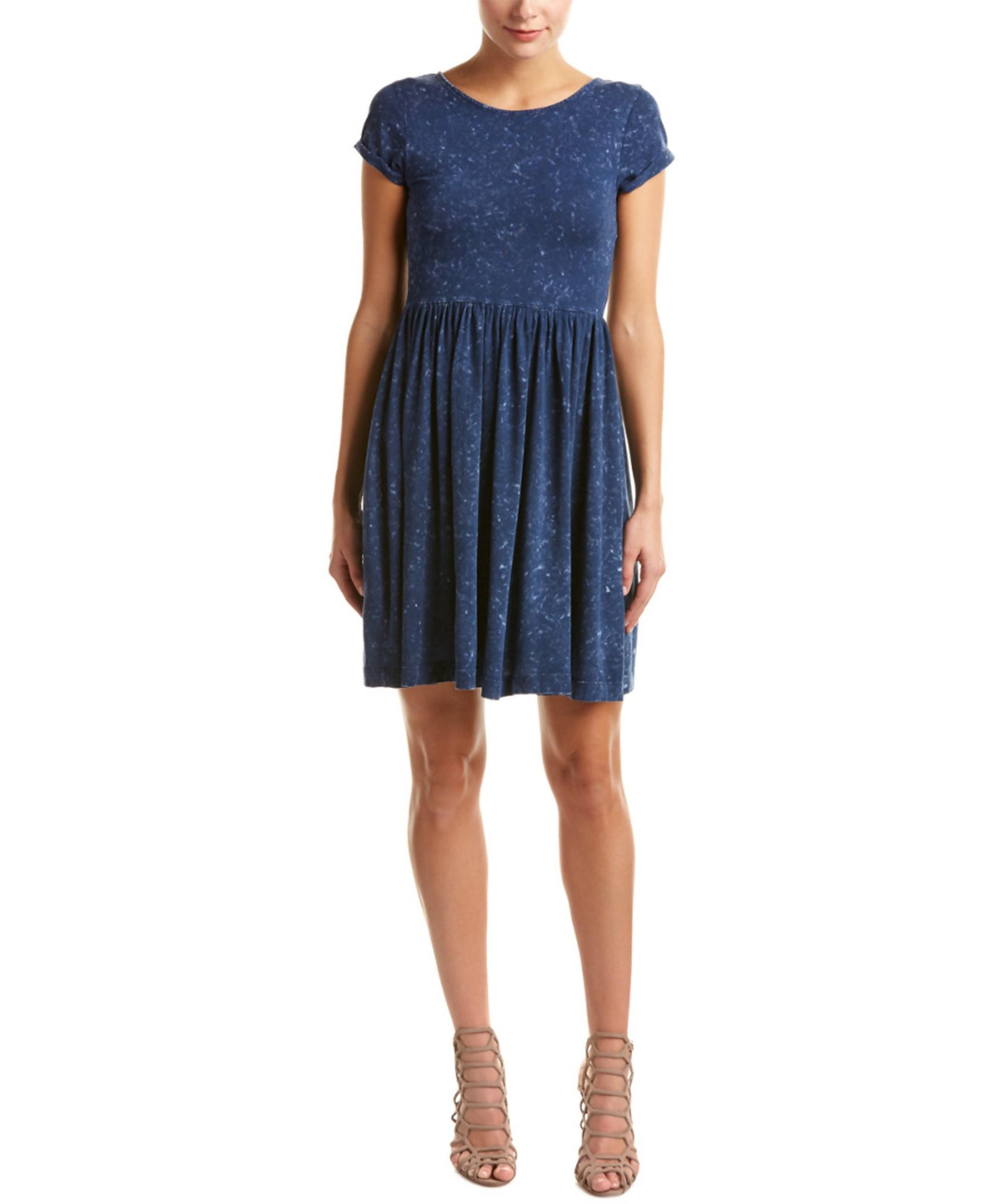 French Connection Gathered T Shirt Dress In Blue Lyst