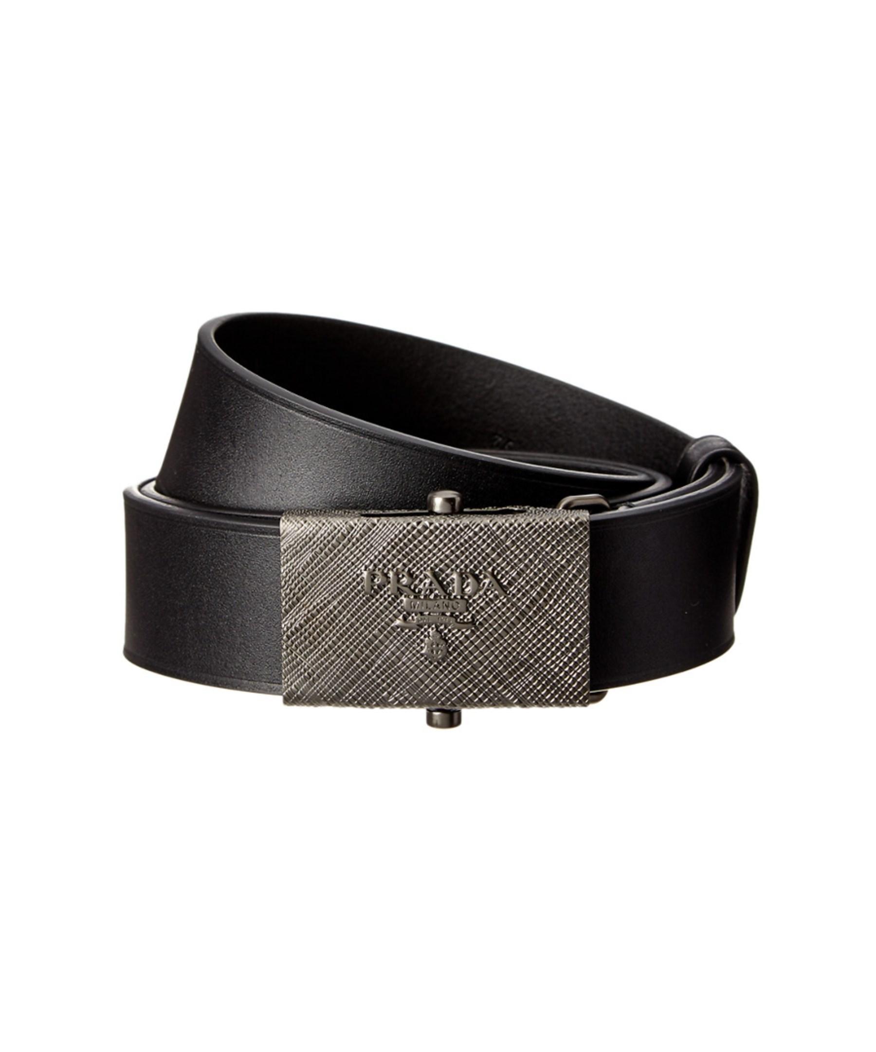 prada calf leather belt in black for lyst