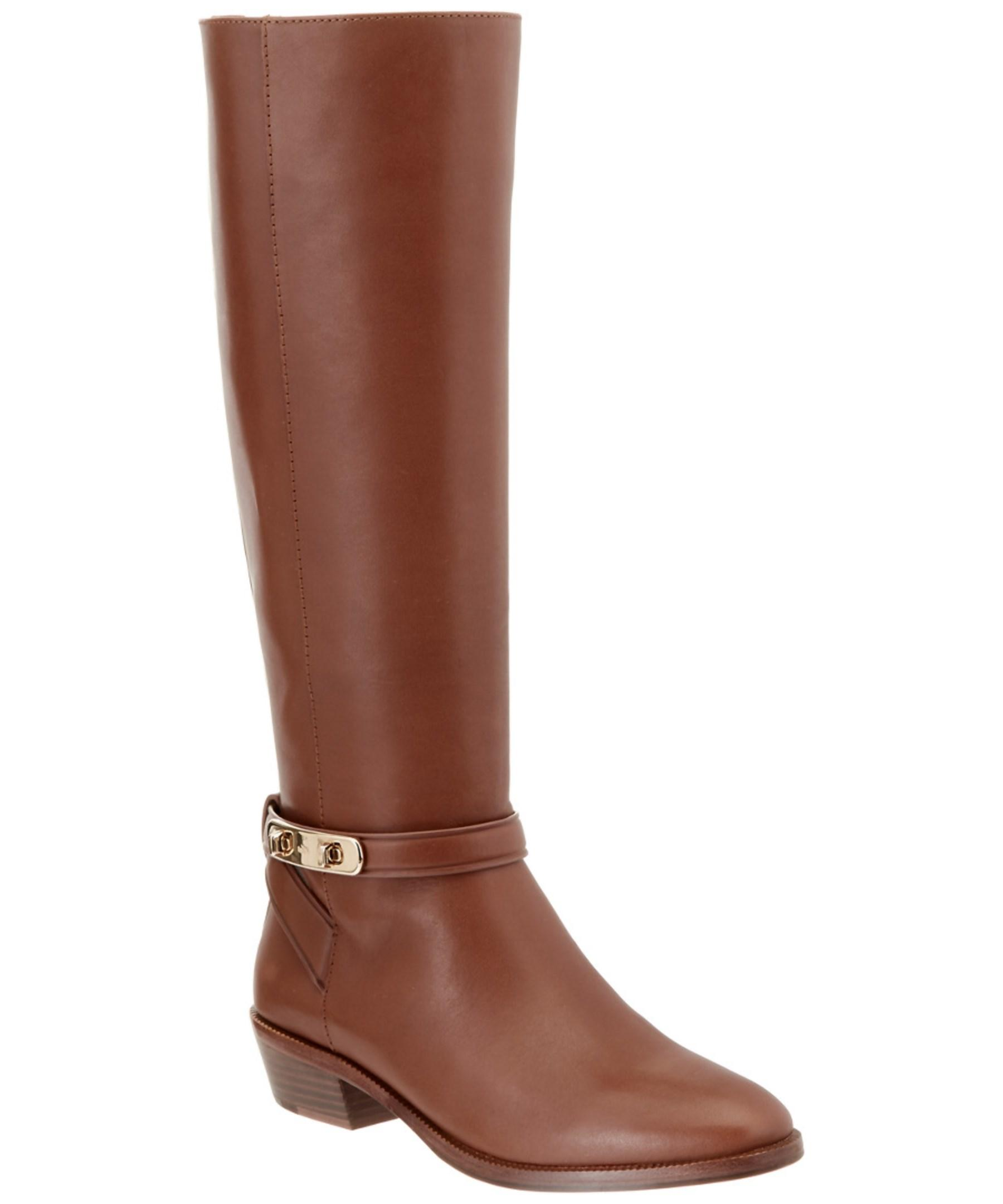 coach caroline leather boot in brown lyst